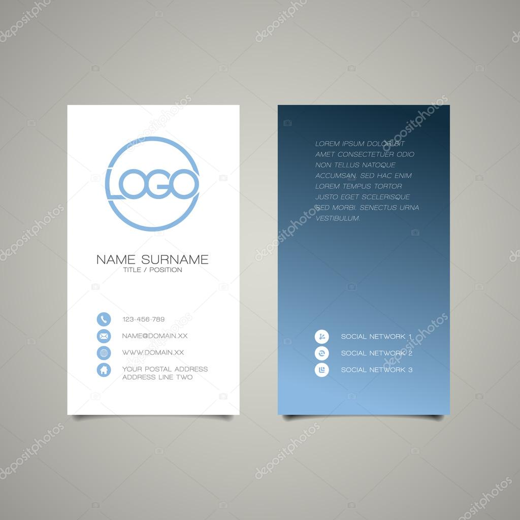 Modern simple vertical business card template — Stock