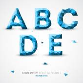 Vector low poly alphabet font — Stock Vector