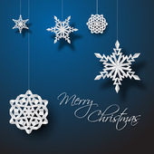 Vector white paper christmas snowflakes — Stock Vector