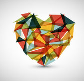 Heart made from color triangles — Stock Vector