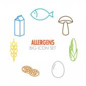 Vector icons for allergens  — Stock Vector