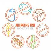 Icons for allergens free products — Stock Vector