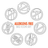 Vector icons for allergens free products — Stock Vector