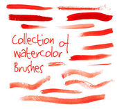Red watercolor brushes — Stock Vector