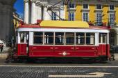 Vintage famous red electrical trams — Stock Photo