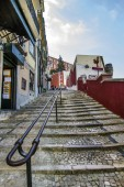 Typical staircases spread through out the Lisbon city downtown area — Stock Photo