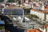 Rossio plaza and the National Theater D.Maria II — Stock Photo