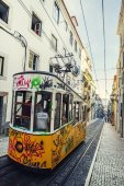 Vintage electric tram of Bica — Stock Photo
