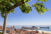 Big cruise ship docked in Lisbon, Portugal — Stock Photo