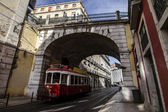 Famous vintage electric trams circulating in Lisbon — Stock Photo
