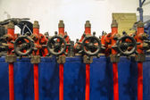 Various valves on a olive oil factory — 图库照片
