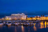 Marina of Faro city in the evening — Stockfoto