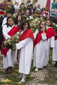 Traditional religious procession of the flower torches — Stock Photo