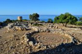 Ruins of an old castle close to Loutro — Stock Photo