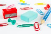 Multicolored office supplies on white desktop closeup — Foto Stock