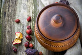 Top view of old rustic crock — Stock Photo