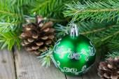Green christmass ball — Stock Photo