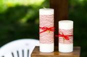 Two handmade wedding candles — Stock Photo