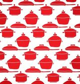 Pattern of red pots — Stock Vector
