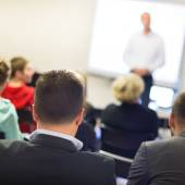 Speaker at Business convention and Presentation. — Stock Photo