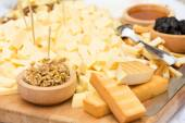Cheese Plate with Dried Fruit and Honey — Stock Photo