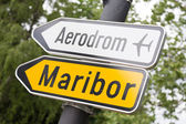 Road sign for Maribor aerport — Stock Photo