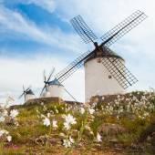 Vintage windmills in La Mancha. — Foto de Stock
