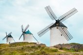 Vintage windmills in La Mancha. — Stock Photo