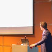 Spreker in het openbaar op Business Conference. — Stockfoto