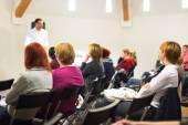 Speaker at Business Workshop. — Stock Photo