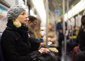 Woman on subway. — Stock Photo