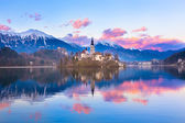Bled in sunset, Slovenia, Europe. — Stock Photo