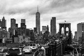 Brooklyn bridge at dusk, New York City. — Stock Photo