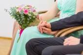 Wedding couple holding hands. — Stock Photo