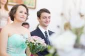 Wedding couple geting merried. — Stock Photo