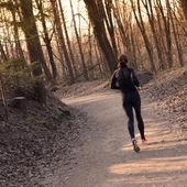 森の中の女性ランナー. — ストック写真