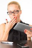 Business woman yawning. — Stock Photo