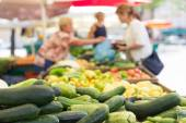 Farmers food market stall with variety of organic vegetable. — Stock Photo