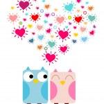 Doodle owls in love — Stockvektor  #65870543
