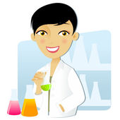 Scientist woman in lab — Stock Vector