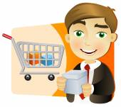 Businessman with shopping cart — Stock Vector