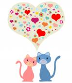 Two cats in love — Wektor stockowy
