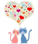 Dois gatos no amor — Vetor de Stock