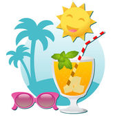 Sunglasses and a cold cocktail — Stock Vector