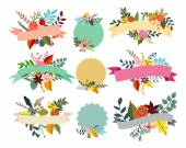 Herbarium made of flowers, leaves and feather and banners set — Stock Vector
