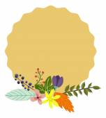 Herbarium made of flowers, leaves and feather and banner — Stock Vector