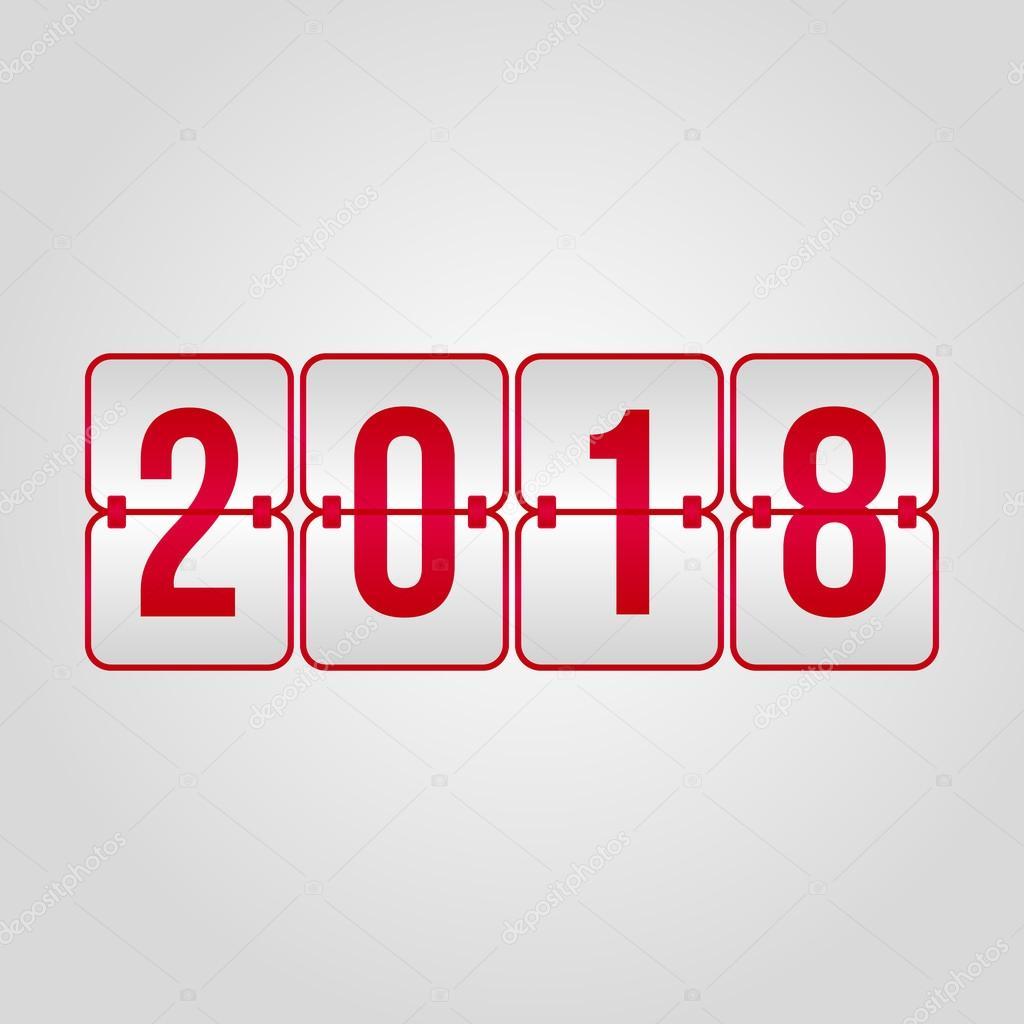 快乐新的一年 2018年和快乐圣诞记分牌红色矢量符号