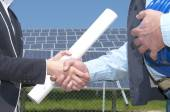 Solar panel handshake — Stock Photo