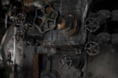 Antique steam locomotive cocpit knobs — Stock Photo