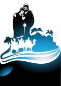 Nativity scene and the three wise men — Stock Vector